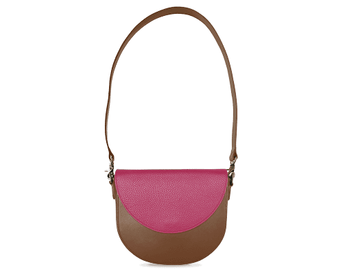 BandalHalf-moon-Body-Brown-BandalHalf-moon-Flap-HotPink-Shoulder-Strap-Brown