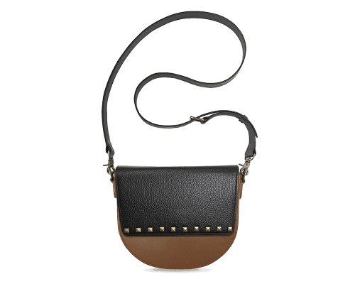 BandalHalf-moon-Body-Brown-NemoRectangular-Flap-BlackStud-Crossbody-Strap-Black