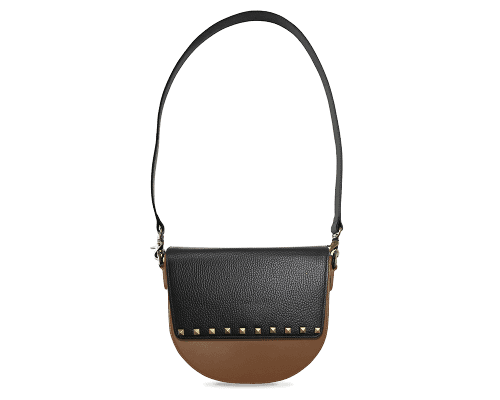 BandalHalf-moon-Body-Brown-NemoRectangular-Flap-BlackStud-Shoulder-Strap-Black