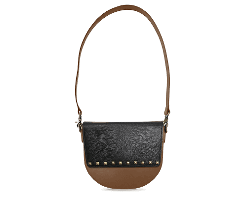 BandalHalf-moon-Body-Brown-NemoRectangular-Flap-BlackStud-Shoulder-Strap-Brown