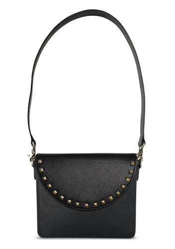 Black Rectangular Body with Black Studs Half-moon Flap