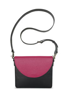 NemoRectangular-Body-Black-BandalHalf-moon-Flap-HotPink-Cross-body-length-Strap-Black