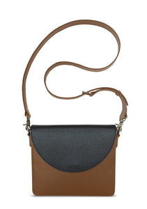 NemoRectangular-Body-Brown-BandalHalf-moon-Flap-Black-Cross-body-length-Strap-Brown