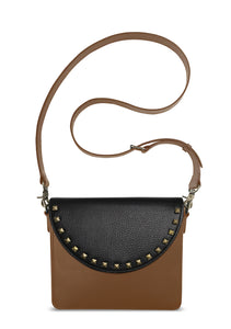 NemoRectangular-Body-Brown-BandalHalf-moon-Flap-BlackStud-Cross-body-length-Strap-Brown
