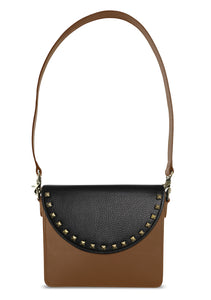 NemoRectangular-Body-Brown-BandalHalf-moon-Flap-BlackStud-Shoulder-length-Strap-Brown