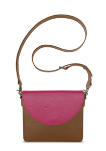 NemoRectangular-Body-Brown-BandalHalf-moon-Flap-HotPink-Cross-body-length-Strap-Brown