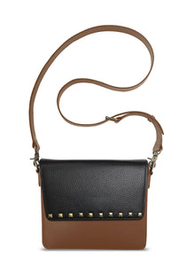 NemoRectangular-Body-Brown-NemoRectangular-Flap-BlackStud-Cross-body-length-Strap-Brown