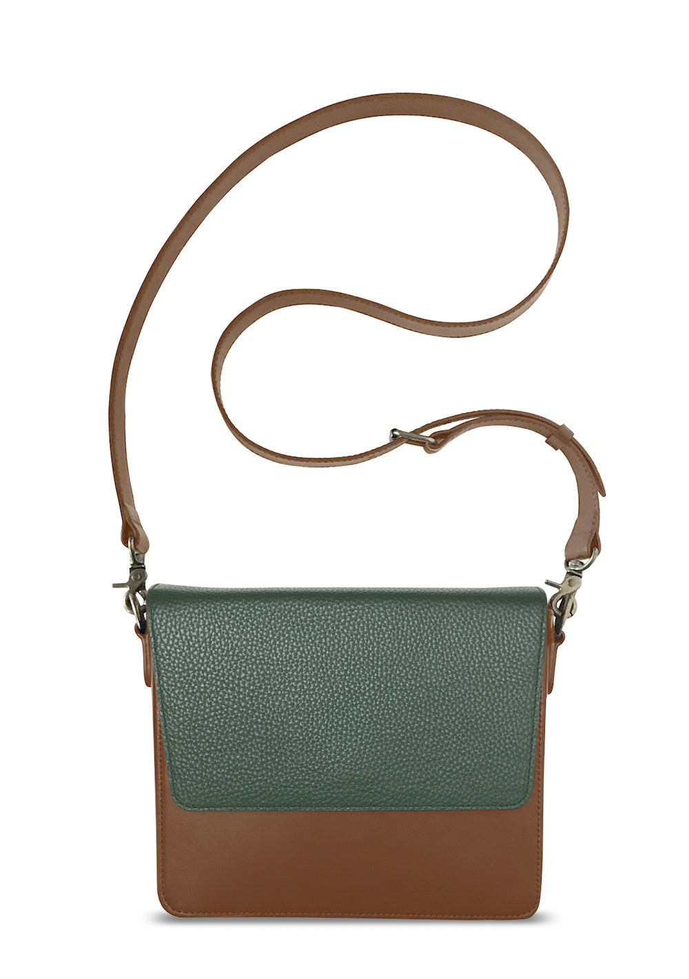 Brown Rectangular Body with Dark Olive Green Rectangular Flap