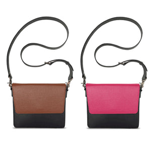 Practical Beauty Bundle: Interchangeable Women's Handbag with Black Body, Strap, and Brown and Pink Flaps Side By Side