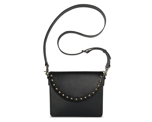 NemoRectangular-Body-Black-BandalHalf-moon-Flap-BlackStud-Crossbody-Strap-Black