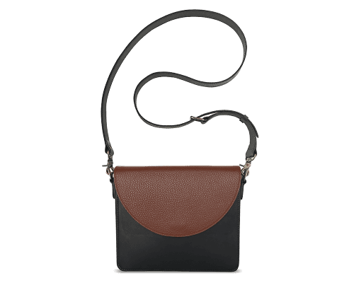NemoRectangular-Body-Black-BandalHalf-moon-Flap-Brown-Crossbody-Strap-Black