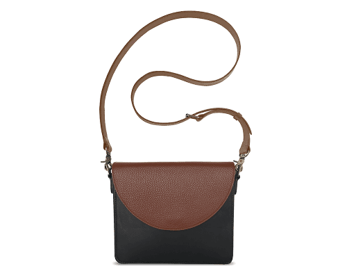 NemoRectangular-Body-Black-BandalHalf-moon-Flap-Brown-Crossbody-Strap-Brown