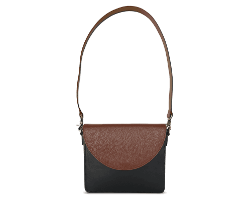 NemoRectangular-Body-Black-BandalHalf-moon-Flap-Brown-Shoulder-Strap-Brown