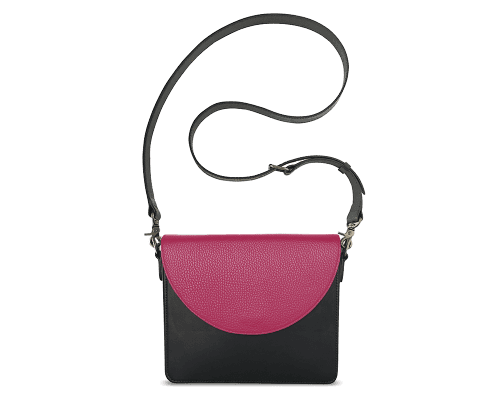 NemoRectangular-Body-Black-BandalHalf-moon-Flap-HotPink-Crossbody-Strap-Black