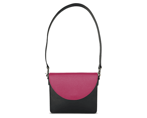 NemoRectangular-Body-Black-BandalHalf-moon-Flap-HotPink-Shoulder-Strap-BlackStud