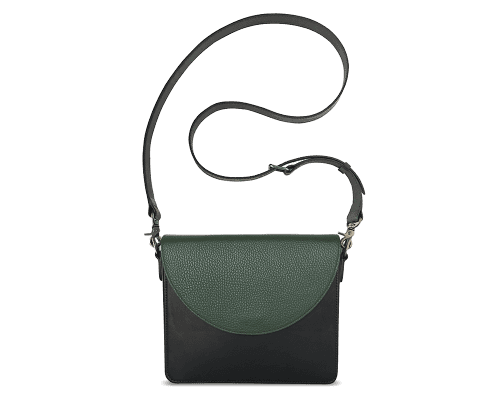 NemoRectangular-Body-Black-BandalHalf-moon-Flap-OliveGreen-Crossbody-Strap-BlackStud