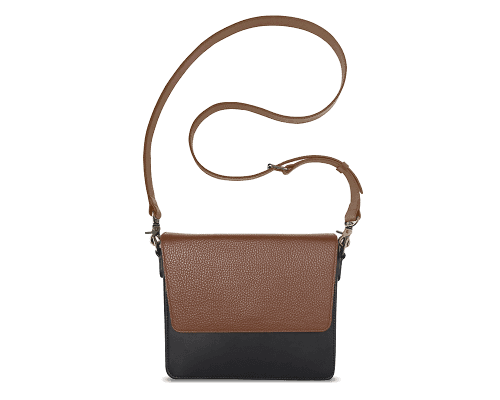 NemoRectangular-Body-Black-NemoRectangular-Flap-Brown-Crossbody-Strap-Brown