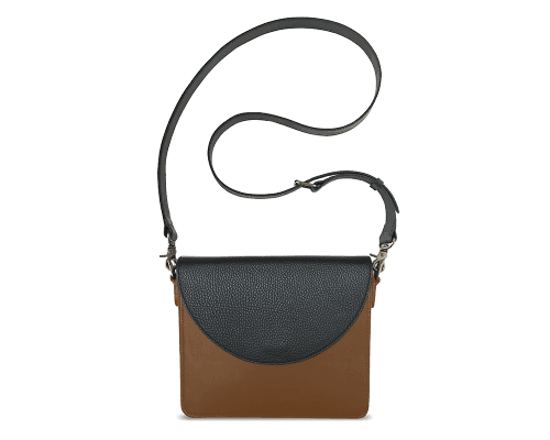 NemoRectangular-Body-Brown-BandalHalf-moon-Flap-Black-Crossbody-Strap-Black