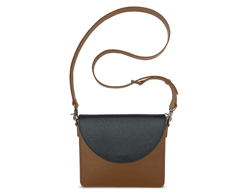 NemoRectangular-Body-Brown-BandalHalf-moon-Flap-Black-Crossbody-Strap-Brown