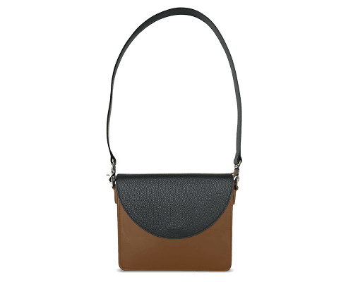 NemoRectangular-Body-Brown-BandalHalf-moon-Flap-Black-Shoulder-Strap-Black