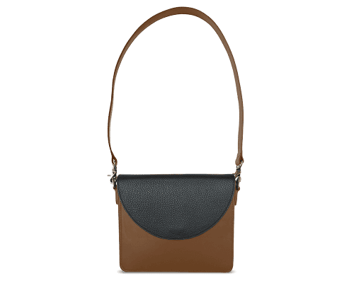 NemoRectangular-Body-Brown-BandalHalf-moon-Flap-Black-Shoulder-Strap-Brown
