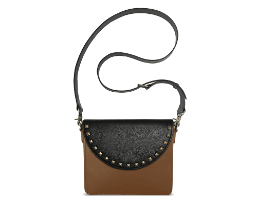 NemoRectangular-Body-Brown-BandalHalf-moon-Flap-BlackStud-Crossbody-Strap-Black