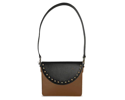 NemoRectangular-Body-Brown-BandalHalf-moon-Flap-BlackStud-Shoulder-Strap-Black