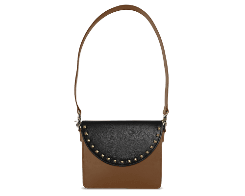 NemoRectangular-Body-Brown-BandalHalf-moon-Flap-BlackStud-Shoulder-Strap-Brown