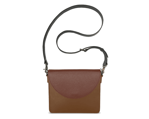 NemoRectangular-Body-Brown-BandalHalf-moon-Flap-Brown-Crossbody-Strap-BlackStud