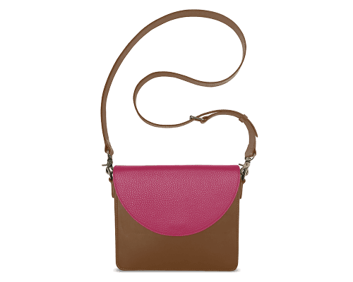 NemoRectangular-Body-Brown-BandalHalf-moon-Flap-HotPink-Crossbody-Strap-Brown