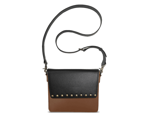 NemoRectangular-Body-Brown-NemoRectangular-Flap-BlackStud-Crossbody-Strap-Black