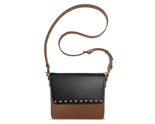 NemoRectangular-Body-Brown-NemoRectangular-Flap-BlackStud-Crossbody-Strap-Brown