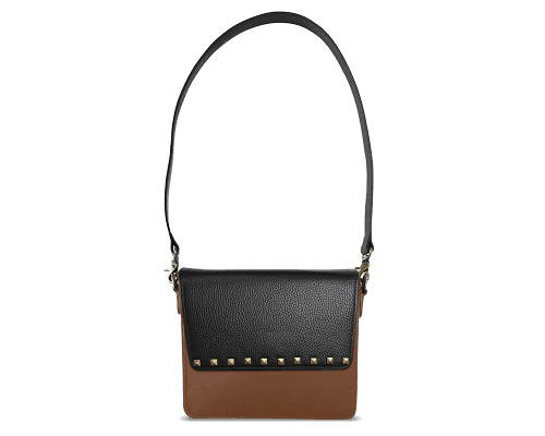 NemoRectangular-Body-Brown-NemoRectangular-Flap-BlackStud-Shoulder-Strap-Black