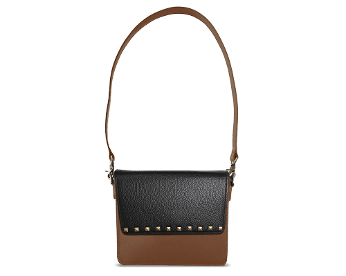 NemoRectangular-Body-Brown-NemoRectangular-Flap-BlackStud-Shoulder-Strap-Brown