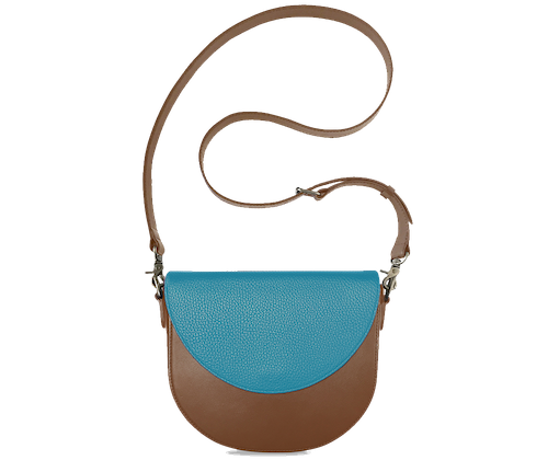 BandalHalf-moon-Body-Brown-BandalHalf-moon-Flap-OceanBlue-Crossbody-Strap-Brown