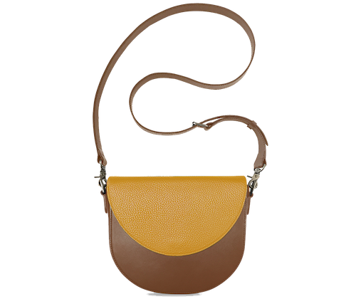 BandalHalf-moon-Body-Brown-BandalHalf-moon-Flap-Yellow-Crossbody-Strap-Brown