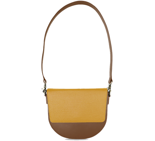 BandalHalf-moon-Body-Brown-NemoRectangular-Flap-Yellow-Shoulder-Strap-Brown