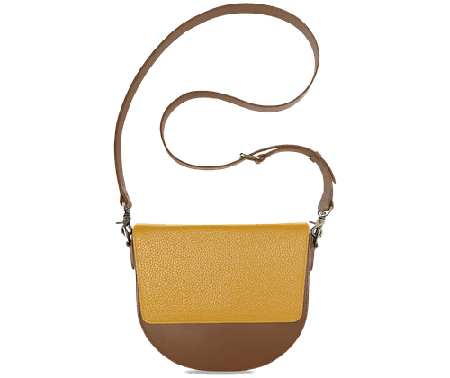 BandalHalf-moon-Body-Brown-NemoRectangular-Flap-Yellow-Crossbody-Strap-Brown
