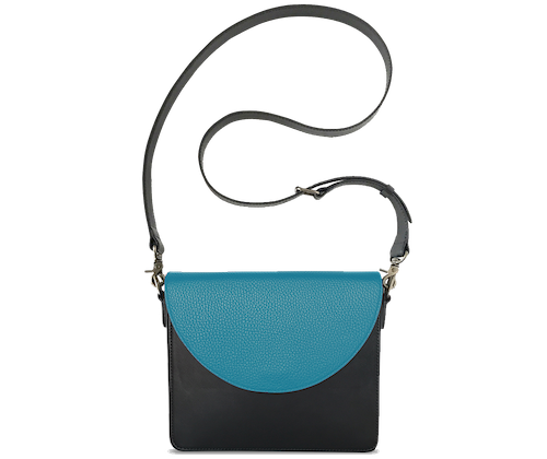 NemoRectangular-Body-Black-BandalHalf-moon-Flap-OceanBlue-Crossbody-Strap-Black