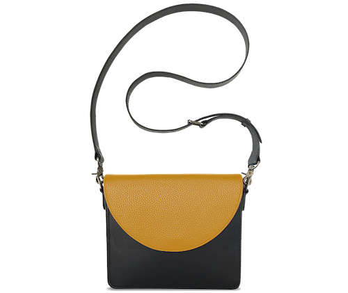 NemoRectangular-Body-Black-BandalHalf-moon-Flap-Yellow-Crossbody-Strap-Black