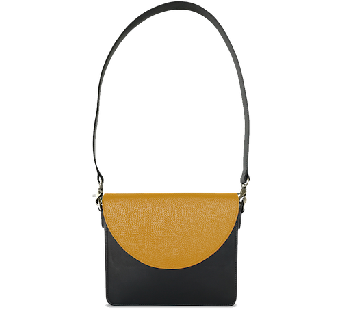 NemoRectangular-Body-Black-BandalHalf-moon-Flap-Yellow-Shoulder-Strap-Black