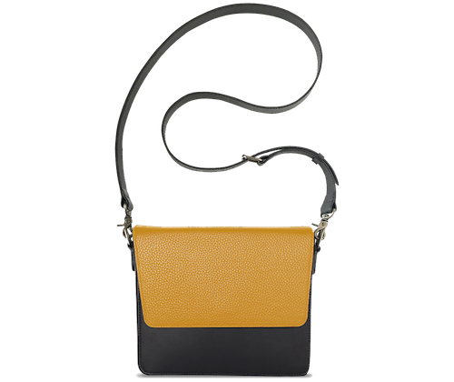 NemoRectangular-Body-Black-NemoRectangular-Flap-Yellow-Crossbody-Strap-BlackStud