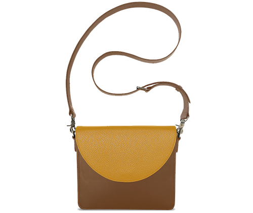 NemoRectangular-Body-Brown-BandalHalf-moon-Flap-Yellow-Crossbody-Strap-Brown