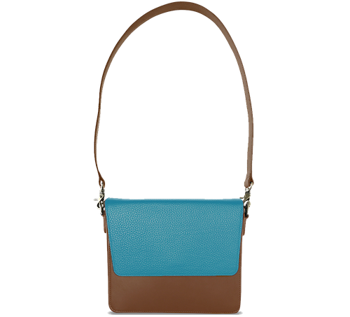 NemoRectangular-Body-Brown-NemoRectangular-Flap-OceanBlue-Shoulder-Strap-Brown