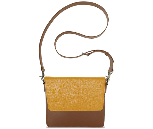 NemoRectangular-Body-Brown-NemoRectangular-Flap-Yellow-Crossbody-Strap-Brown