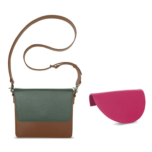 Brighten Your Day Bundle: Interchangeable Handbag Women's Premium Leather Brown with Pink and Green Flap