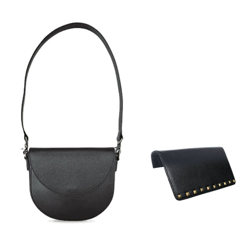 Modern Black Bundle: Interchangeable Women's Handbag with Black Body, Strap, and Flaps
