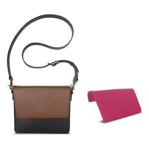 Practical Beauty Bundle: Interchangeable Women's Handbag with Black Body, Strap, and Brown and Pink Flaps