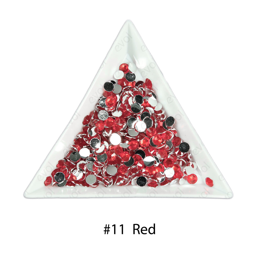 #11 Red - Bag of Flat Back Rhinestone Face Gems in Choice of 2,3,4,5 or 6mm