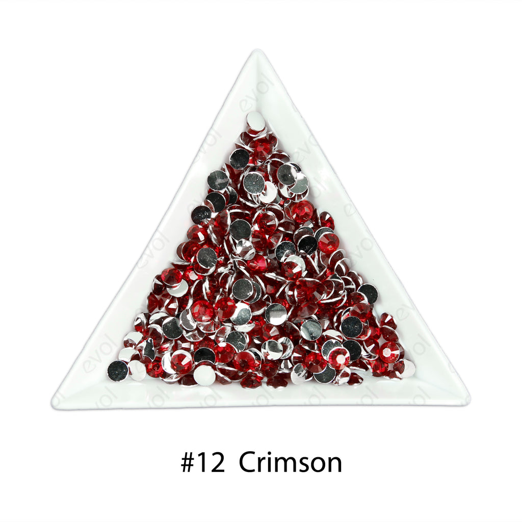 #12 Crimson - Bag of Flat Back Rhinestone Face Gems in Choice of 2,3,4,5 or 6mm